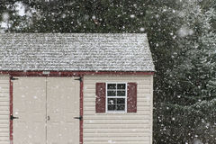 Shed in Falling Snow Stock Photos