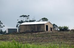 FARM SHED AGAINST OVERCAST SKY Royalty Free Stock Photo