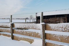 Shed and fence covered in snow Stock Photo