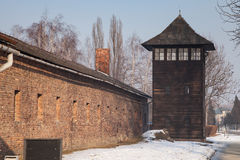 Shed guard in Auschwitz. Museum Auschwitz holocaust museum. Stock Photos