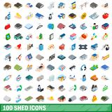 100 shed icons set, isometric 3d style. 100 shed icons set in isometric 3d style for any design illustration stock illustration