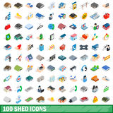 100 shed icons set, isometric 3d style Royalty Free Stock Photography