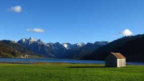 Shed at lake Sihlsee Stock Image