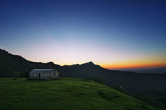 Shed in mountain at evening Stock Photography
