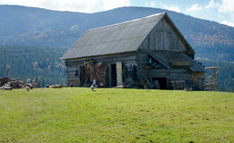 Shed on mountain plateau Royalty Free Stock Photo