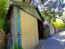 Shed in Northern California. View of painted, rustic, wooden shed in the small town of San Anselmo in Northern California Stock Image