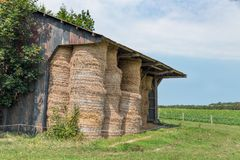Shed with pile of haystacks in Normandy, France. Rural landscape and open shed with pile of haystacks in Normandy, France royalty free stock image