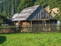 Shed on the plot. In the Carpathian village Stock Photos