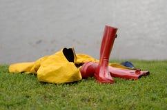 Shed the raincoat, horizontal Royalty Free Stock Image