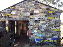 Shed with registration plates. And publicity in Western Australia royalty free stock image