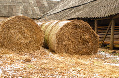 Shed and rolls with hayac Royalty Free Stock Photos