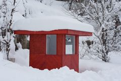 Shed in snow Stock Photos