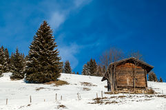Shed in the snow, Switzerland Royalty Free Stock Photos
