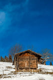 Shed in the snow, Switzerland Stock Image