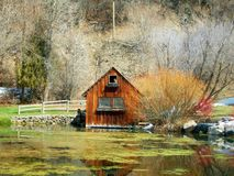 Shed with snow in Utah park Royalty Free Stock Images