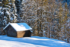 Shed in snowy forest Stock Images