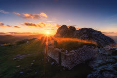 Shed on Urkiola mountain range at sunset Royalty Free Stock Photos