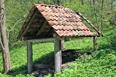 A shed without walls for storage of firewood Stock Photo