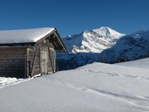 Shed and Wildstrubel in the winter Royalty Free Stock Photography