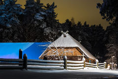 Shed in the winter night Royalty Free Stock Photos