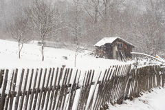 Shed in the winter scenery. Bieszczady Mountains near Orelec, Poland Royalty Free Stock Image