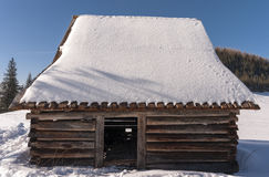 Shed in winter scenery. Tatra mountains Royalty Free Stock Image