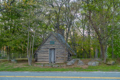 Shed in the woods. Wooden shed in the woods hidden under the trees Royalty Free Stock Photos