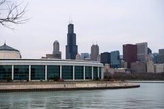 Shedd Aquarium. The John G. Shedd Aquarium at Lake MIchigan in front of the Chicago Skyline Stock Photography