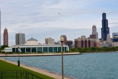 Shedd and Skyline. This is a Spring picture featuring the Shedd Aquarium and the south loop skyline of Chicago, Illinois.  This picture taken across Lake Royalty Free Stock Image