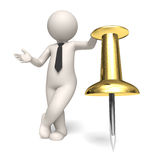 Shedule icon - Gold push pin - 3d business man. 3d rendered business man standing near a gold push pin - Schedule concept - Icon Royalty Free Stock Photos