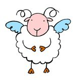 Sheep 02. Funny cartoon style angel sheep Stock Images