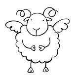 Sheep 02 b/w. Funny cartoon style angel sheep Stock Image