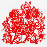 Sheep. This paper-cut shows the sheep, one of the Chinese Zodiac Royalty Free Stock Image