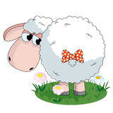 Sheep. Illustration of sheep looking on the tail with bow on pasture Stock Photography