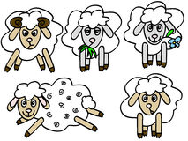 Sheep. A set of five cute sheep with different emotions Royalty Free Stock Photography