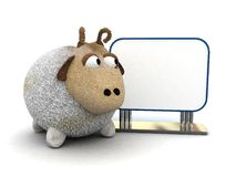 Sheep. 3d cartoon sheep with blank board Royalty Free Stock Photos