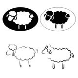 Sheep. Black silhouettes of sheep on a white background Stock Photo