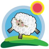 Sheep. Vector illustration happy sunny day Stock Image