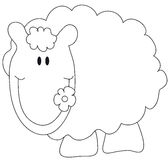 Sheep. An illustration featuring a black and white outline of a cartoon sheep Stock Images
