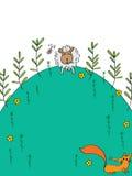 Sheep back home. Illustration abstract sheep back home eat grasses fox back home not eat sheep Stock Photos