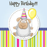 Sheep with balloon. Greeting card Cute Sheep with balloon and bonnet Stock Images