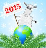 Sheep with a banner 2015 year and planet Earth. Vector illustration Stock Image