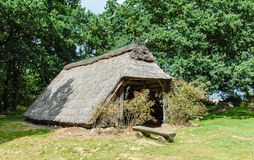 Sheep barn with thatched roof Royalty Free Stock Image