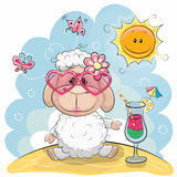 Sheep on the beach. Greeting card Cute Sheep in sun glasses on the beach Royalty Free Stock Images