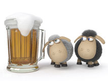 Sheep with beer Royalty Free Stock Photo