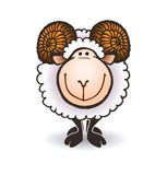 Sheep with big horns Royalty Free Stock Photo