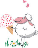 Sheep with big ice cream Stock Photo