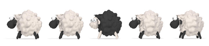 Sheep black  illustration 3D Royalty Free Stock Photography