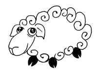 Sheep. Black and white illustration of sheep Royalty Free Stock Image