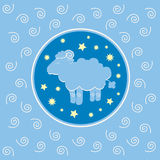 Sheep on blue background Stock Images